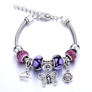 Bracelet Jewelry 6 Colors Silver Lobster Buckle Snake Chain Bangles Beaded Bracelet Fit Jewelry Butterfly Flower Crown shape