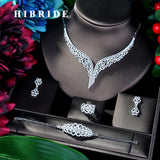 HIBRIDE Super Luxury Leaf Leaves Full Micro Cubic Zirconia Women Wedding Dress Choker Necklace Earring Jewelry Sets 2019 N-39