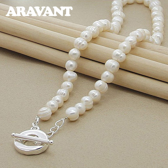 Freshwater Pearl Necklaces 925 Silver Necklaces Jewelry For Women Wedding Fashion Jewelry