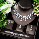 HIBRIDE Dubai 4pcs Bridal Zirconia Jewelry Sets For Women Party, Luxury Nigeria CZ Crystal Wedding Jewelry Sets N-182