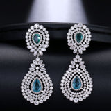 EMMAYA Brilliant Bridal Waterdrop Cubic Zirconia Earings Big Luxury Silver Crystal For Elegant Women Wedding Jewelry Gift