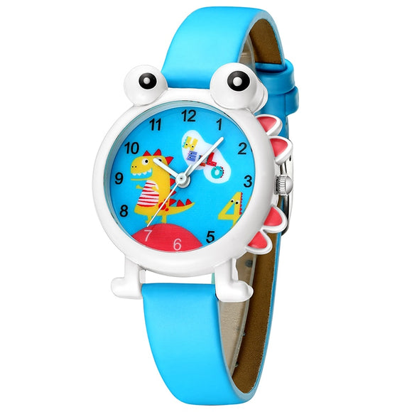 KDM Lovely Cartoon Dinosaur Children Watch Cute Kids Boys Waterproof Watches Genuine Leather Kid Wristwatch Students Clock