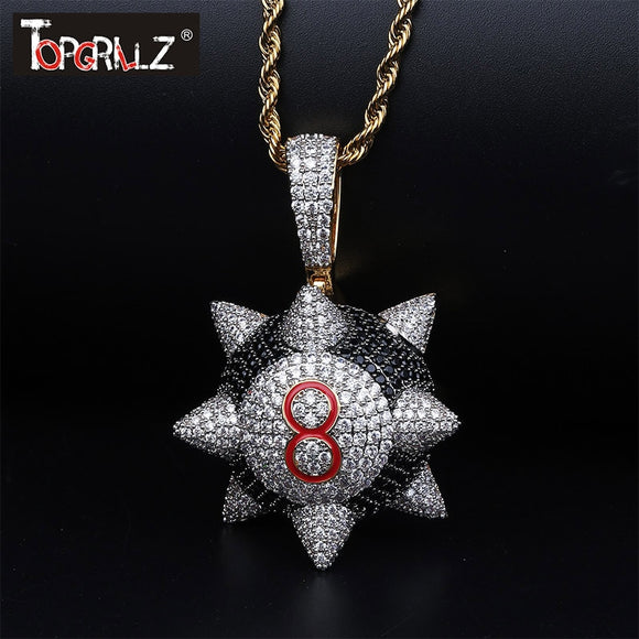 TOPGRILLZ New Iced out Trippieredd Inspired Spike 8-ball Billiard  Pendant Necklace With Tennis Chain Hip hop Jewelry