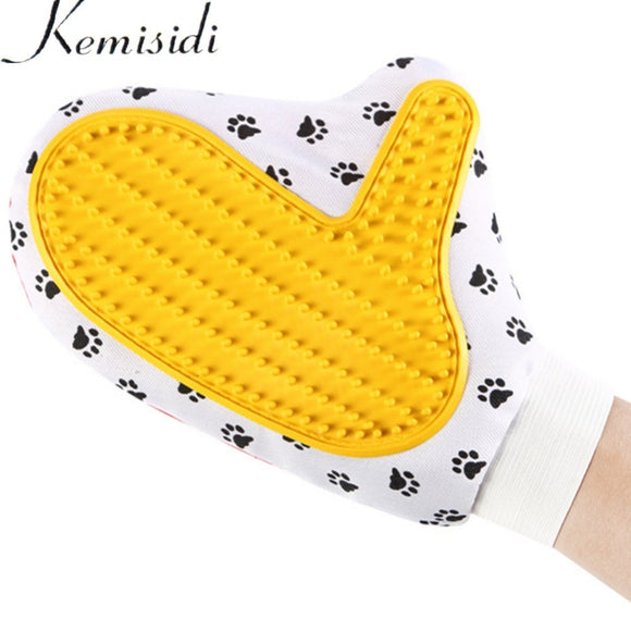 KEMISIDI Footprint Cat Brush Glove for Animal Cat Supplies Pet Gloves Hair Comb Five Finger Glove For Dog Grooming Pet Dog Clean