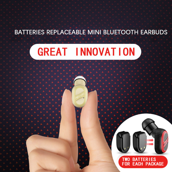 Mini-Q Creative Battery Changeable Bluetooth Headset 5.0 Single Ear Wireless Mini Earbud With Charging Stand