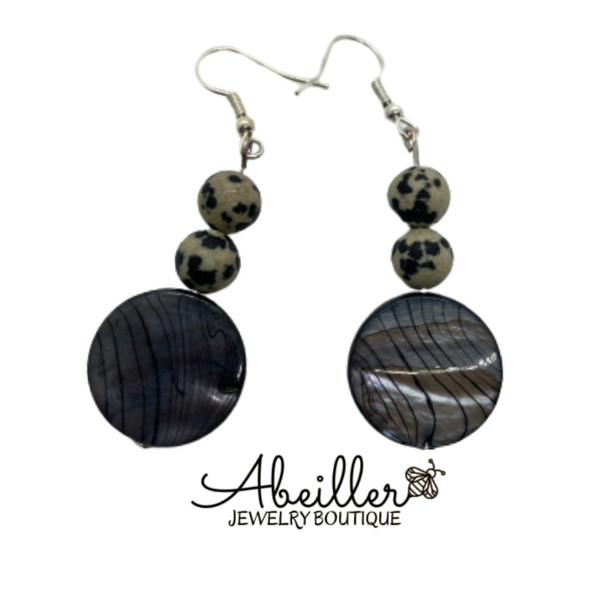 Aballone Shell and Dalmatian Earrings - Abeiller