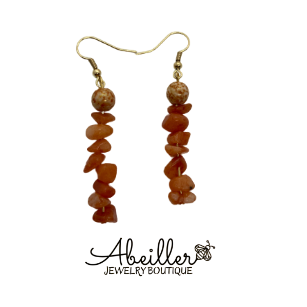 Orange Dyed Quartz Earrings - Abeiller