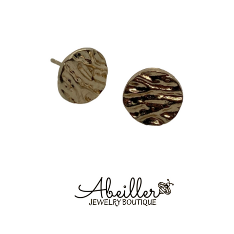 Mini Gold Textured Earring - Abeiller