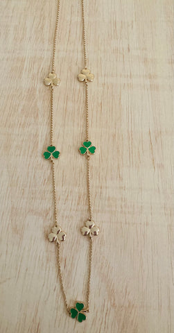 Green & Gold  leaf clover necklace