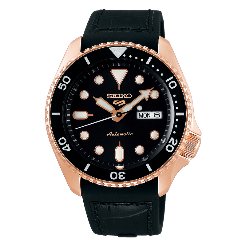 SEIKO WATCH AUTOMATIC GTS STAINLESS STEEL ROSE GOLD TONE COATING ROUND FACE 24 JEWELS, DAY & DATE DISPLAY, SCREW CASE BAC SEE-THROUGHK, BLACK LEATHER STRAP 10 BAR WATER RESISTANCE