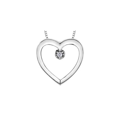 10k White Gold Diamond Heart-shaped Pendant, DIA = 0.01 CTW (SKU 24550)