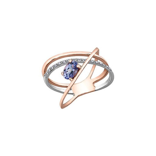 10 K R&W 17 DIA= .068 CTW, 1 OVAL SHAPE TANZANITE 6X4MM CLAWS SETTING, CRISS-CROSS STYLE BIRTHSTONE RING
