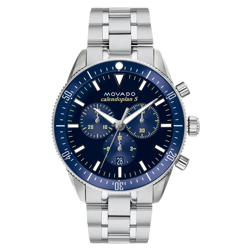 GTS MOVADO WATCH HERITAGE SERIES CALENDOPLAN CHRONOGRAPH QUARTZ 42MM CASE, STAINLESS STEEL ROUND FACE  BLUE DIAL WHITE MARKERS AND HANDS, SAPPHIRE CRYSTAL
