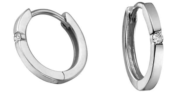 10k White Gold Diamond Huggie Earrings, DIA = 0.04 CTW (SKU 24561)