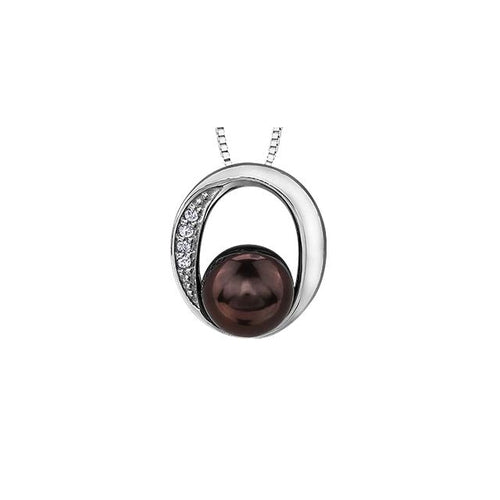 10 K WG 4 ROUND DIA= .01 CTW 1 BLACKPEARL 5.5MM CIRCULAR SETTING PENDANT WITH FINE CURB CHAIN