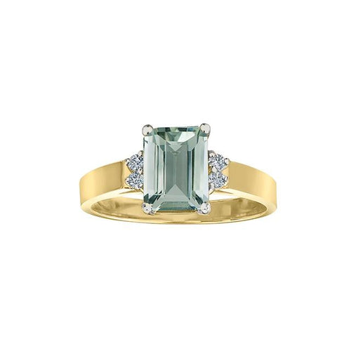 10 K Y&W 4 DIA= .06 CTW, 1 EMERALD CUT GREEN AMETHYST 8X6MM CLAWS SETTING BIRTHSTONE RING