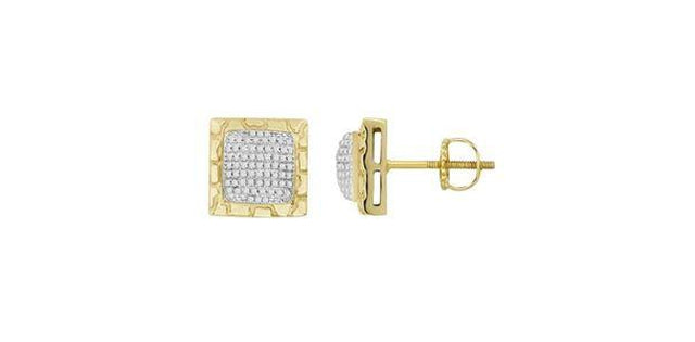 Men's Earrings .33ct Round Diamond 10k Yellow Gold (31181)
