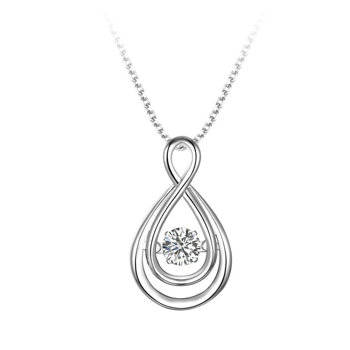 Sterling Silver Double Infinity Cubic Zirconia Dancer Pendant
