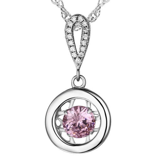 Sterling Silver Pink Cubic Zirconia Dancer Drop Pendant