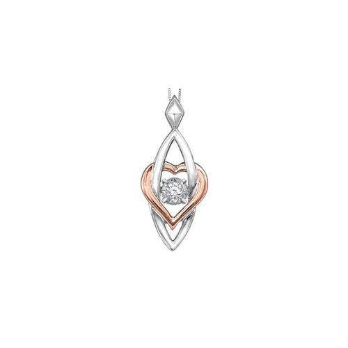 10 K W&R 1 DIA= .03 CT PULSE COLLECTION HEART AND MARQUISE SHAPE PENDANT WITH FINE CURB CHAIN