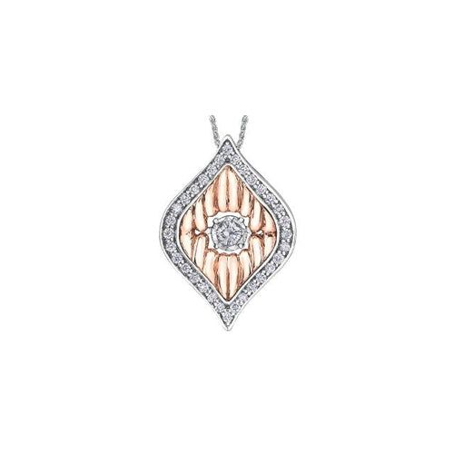 10 K W&R 33 ROUND DIA= .20 CTW (1 CTR DIA= .05 CT AND 32 DIA= .15 CTW) MARQUISE SHAPE PENDANT WITH WHITE GOLD WHEAT CHAIN