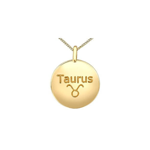 "10K Y GOLD 3 DIA= .009 CTW ZODIA SIGN ""TAURUS"" ROUND SHAPE PENDANT WITH FINE CURB CHAIN"