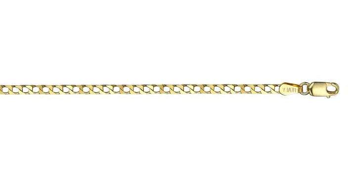 10k Yellow Gold Square Curb Link Chain(20 inches, 5.9 g)