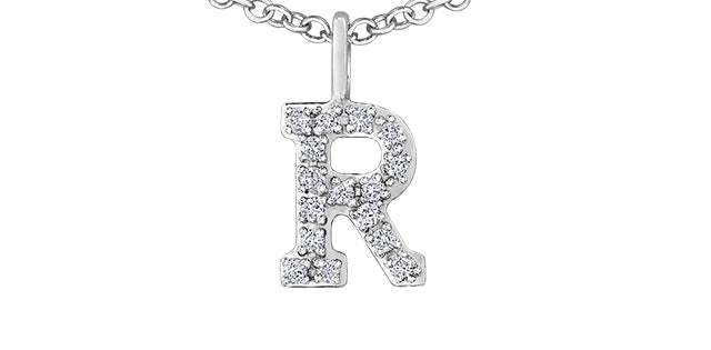 10K W GOLD 16 DIA= .08 CTW INITIAL R WITH CABLE STYLE CHAIN