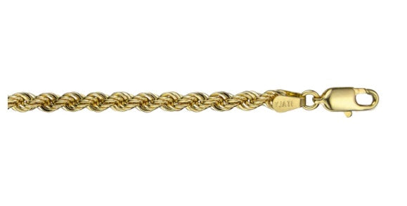 10k Yellow Gold Hollow Rope Chain(3.5mm Wide, 8 inches, 2.3 g)