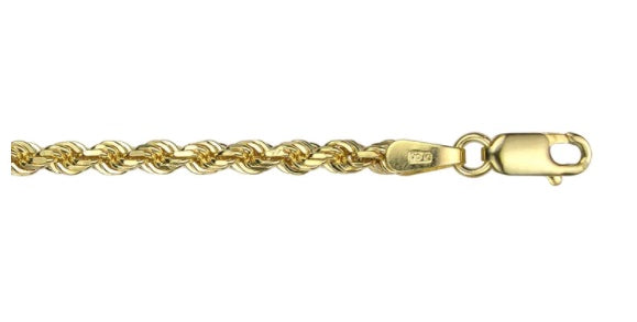 10k Yellow Gold Hollow Rope Chain(5mm Wide, 22 inches, 12.0 g)