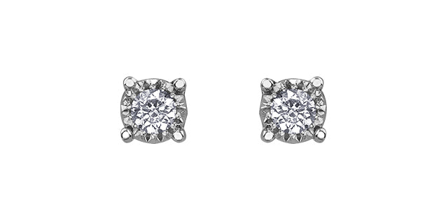 10 K WG 2 ROUND DIA= .03 CTW ILLUMINAIRE COLLECTION, ILLUSION SETTING STUD EARRINGS, BUTTERFLY BACKINGS