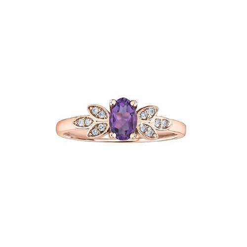 10 K RG 12 DIA= .06 CTW, 1 OVAL SHAPE AMETHYST 6X4MM CLAW SETTING, LEAVES PATTERN BIRTHSTONE RING
