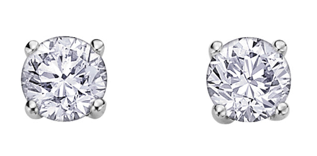 14K W GOLD 2 DIA= .50 CTW ( EACH DIA= .25 CT, IMP1, H COLOUR ) STUD EARRINGS. CD#MLR690623/ MLR690627