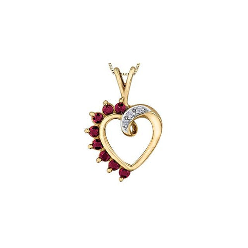 10k Yellow Gold Ruby and Diamond Heart-shaped Pendant, DIA= 0.03 CTW (SKU 24542)
