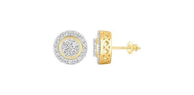 Men's Earrings 1.00ct Round Diamond 10k Yellow Gold (31185)