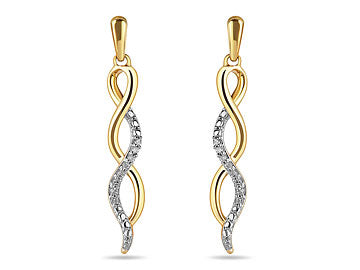 10K Yellow Gold and Diamond Twist Design Dangling Earrings in Prong Setting (32300)