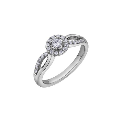 10 K WG 25 DIA= .30 CTW ( 1 CTR CAD DIA= .10 CT, IMP1, G COLOUR / 24 SHOULDER DIA = .20 CTW) HALO STYLE, SPLIT SHOULDER SHANK, CLAW SETTING ENGAGEMENT RING CAD # MLR681907