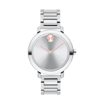 LDS MOVADO BOLD EVOLUTION WATCH QUARTZ 34MM CASE  2TONE ROSE STAINLESS STEEL ROUND FACE SILVER COLOUR DIAL ROSE TONE HANDS AND SUNRAY DOT @ 12 MARKER
