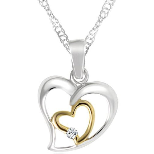 Sterling Silver Double Heart Cubic Zirconia Pendant