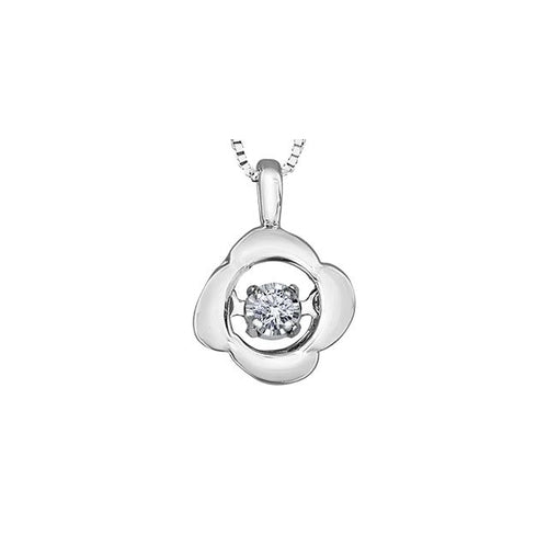 "10k White Gold Diamond ""Pulse"" Flower-style Pendant, DIA = 0.02 CTW (SKU 24616)"