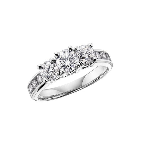 14 K WG 9 DIA= .33 CTW ( 1 CTR DIA= .12 CT, 2 SIDE DIA= .15 CTW, 6 SHOULDER DIA= .06 CTW) PAST,PRESENT, FUTURE STYLE CLAAW SETTING ENGAGEMENT RING