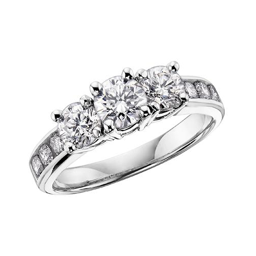 14 K WG 9 DIA= .50 CTW ( 1 CTR DIA= .17 CT, 2 SIDE DIA= .24 CTW, 6 SHOULDER DIA= .09 CTW) PAST,PRESENT, FUTURE STYLE CLAAW SETTING ENGAGEMENT RING