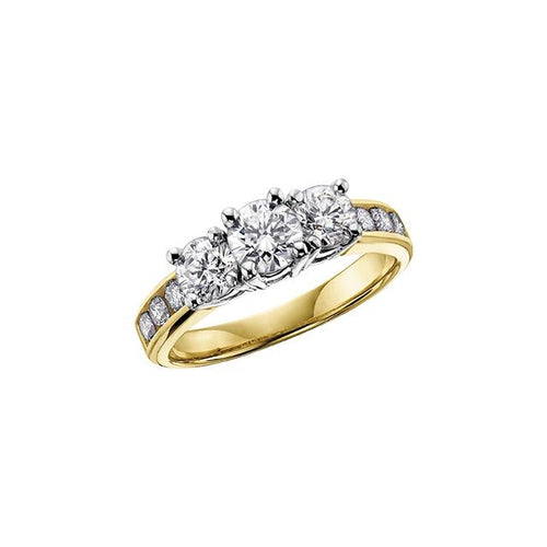 10K Y&W GOLD 9 DIA= 1.00 CTW ( 1 CTR DIA= .32 CT, 2 SIDE DIA= .48 CTW, 6 SHOULDE DIA= .20 CTW ) PAST-PRESENT-FUTURE STYLE ENGAGEMENT RING