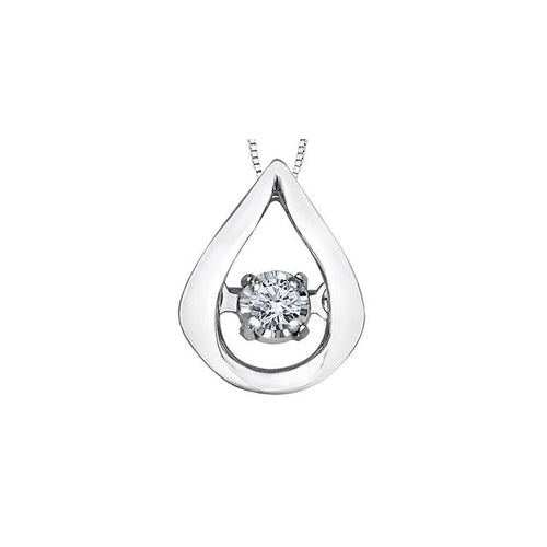 10k White Gold Diamond Pulse Pear-shaped Pendant, DIA = 0.02 CTW (SKU 24610)