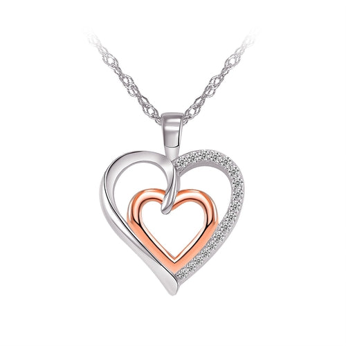 Sterling Silver Two Tone Double Heart Cubic Zirconia Pendant