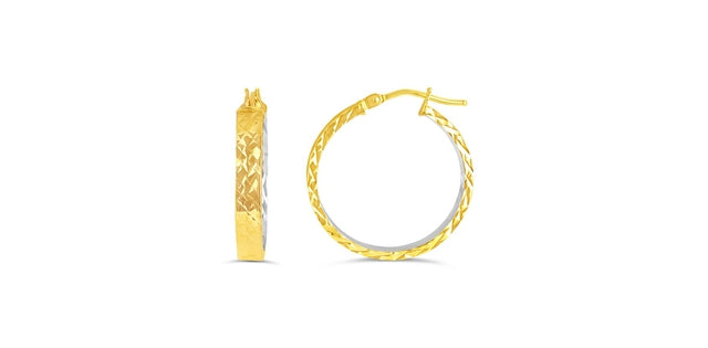 G BELLA GOLD COLLECTION 10KY GOLD DIA-CUT DESIGN HOLLOW HOOP EARRINGS