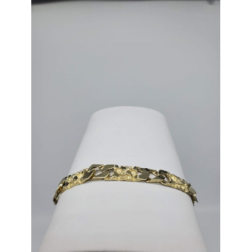 10kt Yellow Gold High Polish and Nugget Pattern Link Bracelet (32195)