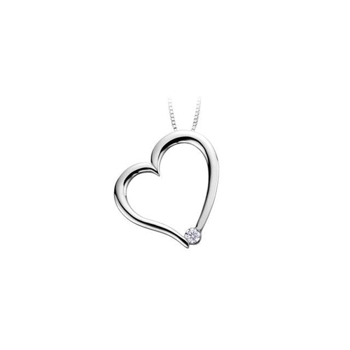 10 K WG 1 DIA= .035 CT IMP1, G COLOUR  VRY GOOD CUT, HEART SHAPE PENDANT WITH FINE CURB CHAIN CAD # ML703184
