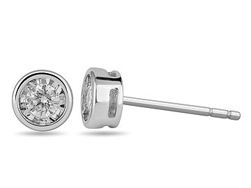 14K White Gold and Diamond Round Earrings in Prong Bezel Setting (32324)
