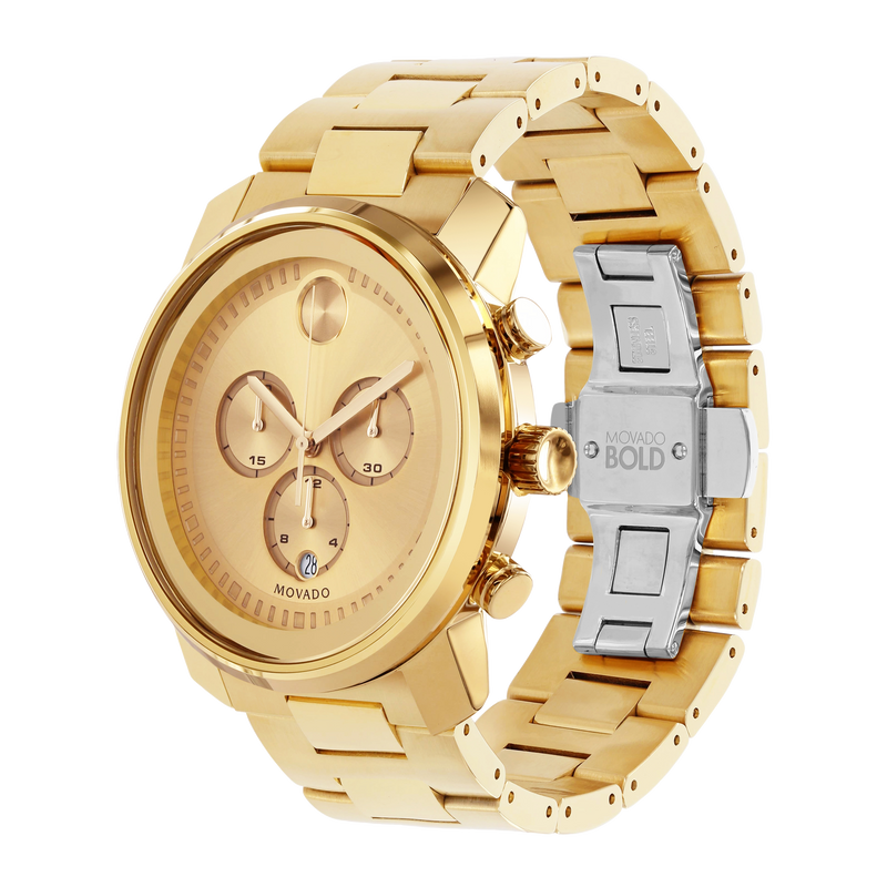 GTS MOVADO BOLD WATCH CHRONOGRAPH QUARTZ 44MM CASE, YELLOW GOLD ION-PLATED STAINLESS STEEL ROUND FACE GOLD TONE DIAL MARKERS AND HANDS, K1 CRYSTAL
